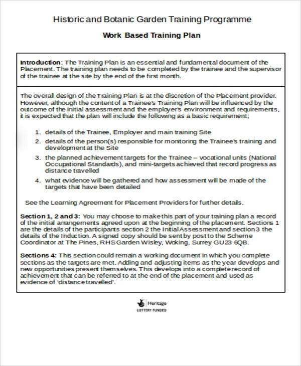 training plan assessment