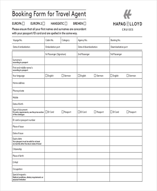 Travel Order Forms  Free Samples Examples Format Download