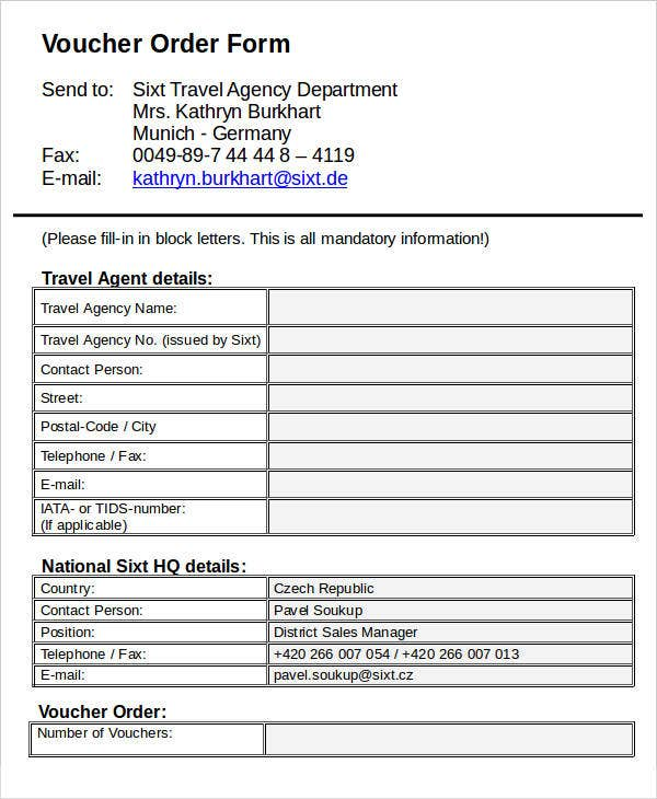 Travel Agency Order Form