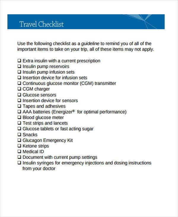 travel checklist templates 11 free samples examples format