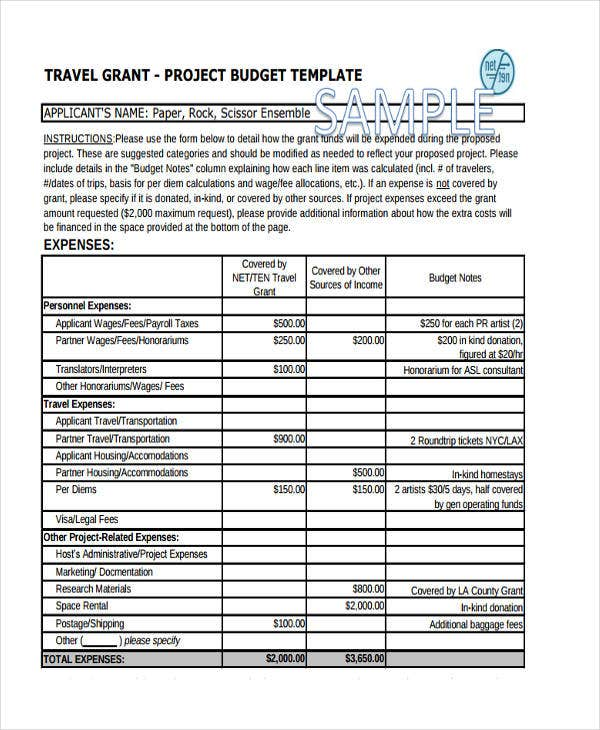travel grant budget template