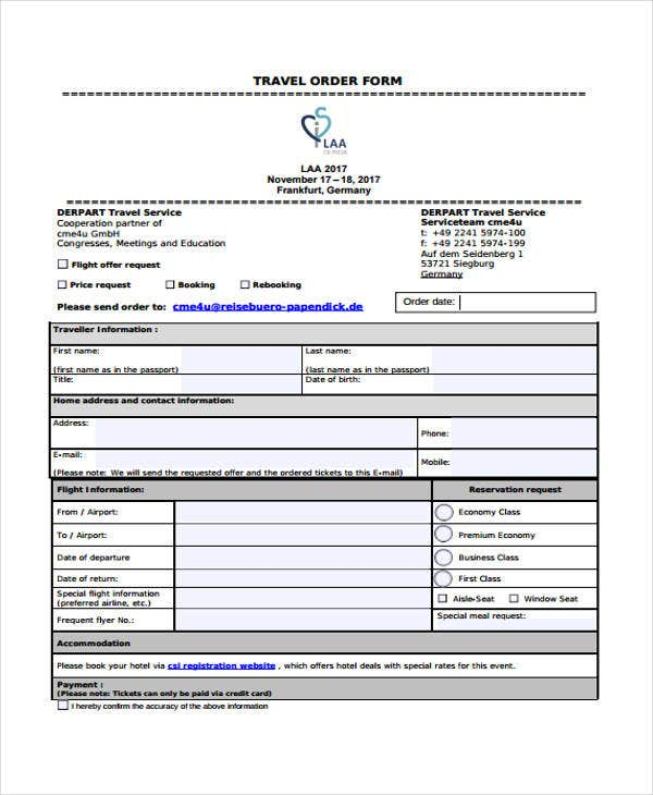 travel order form sample