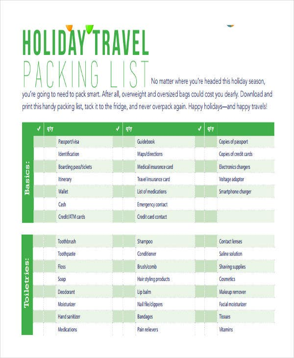 travel packing list for holiday