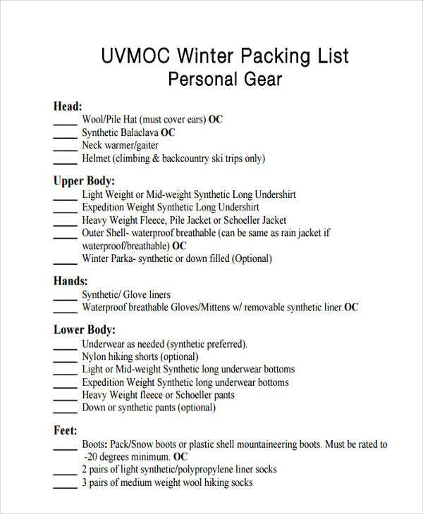 travel packing list for winter