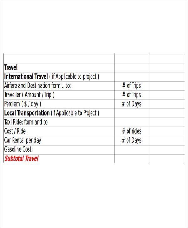 travel proposal