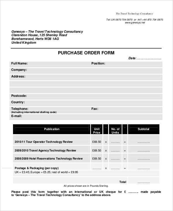 7 Travel Order Forms Free Word Pdf Format Download