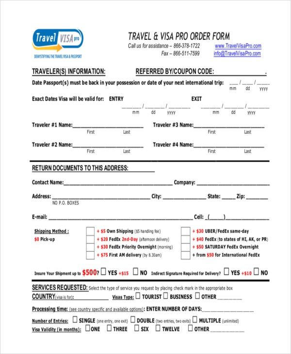 travel visa pro order