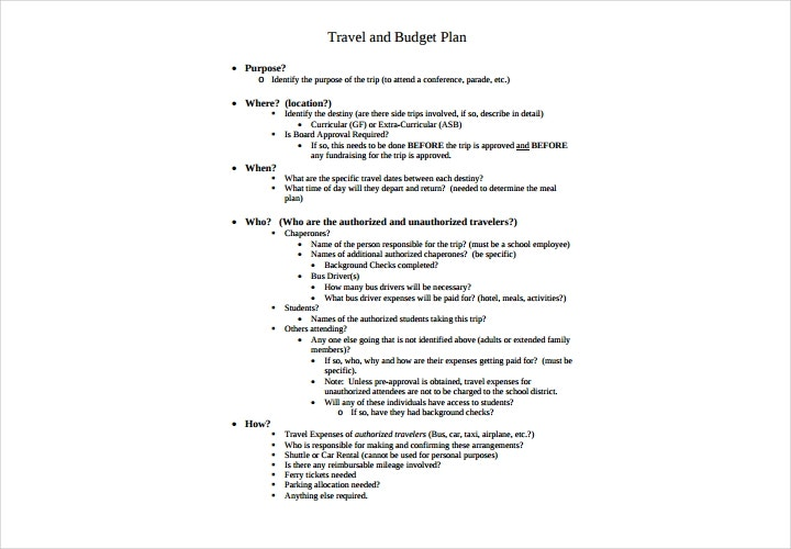 travel and budget plan