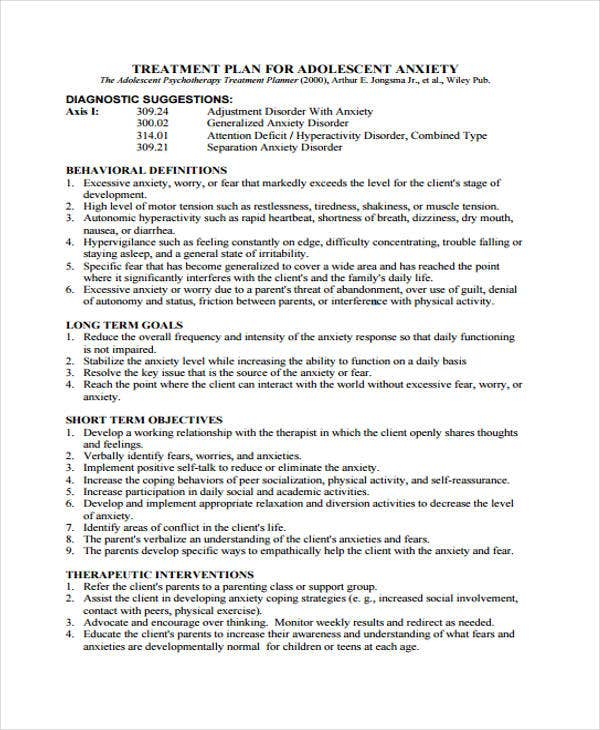 psychotherapy treatment plan template