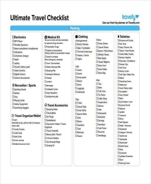 Travel Checklist Templates   Free Samples Examples Format