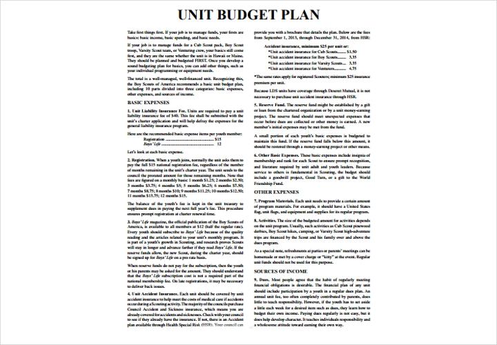 unit budget plan