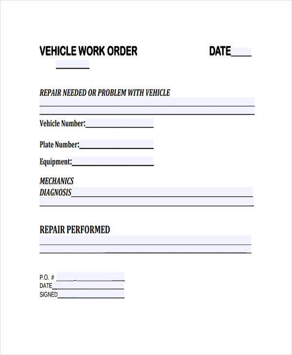vehicle repair work order