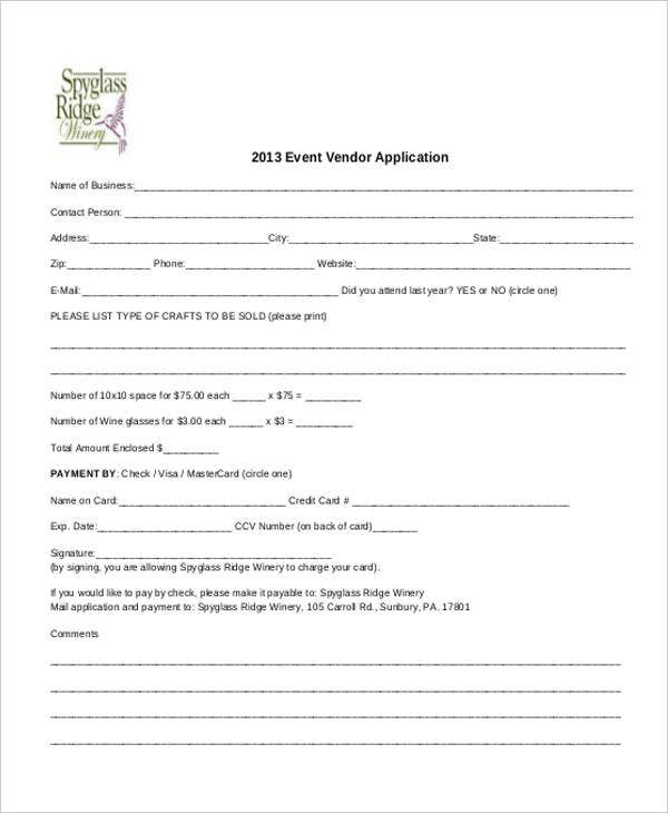 Vendor-Event-Application Job Application Form Template Free Nz on tracking spreadsheet, california state, microsoft word free, for small businesses, child care, free printable blank, for retail,