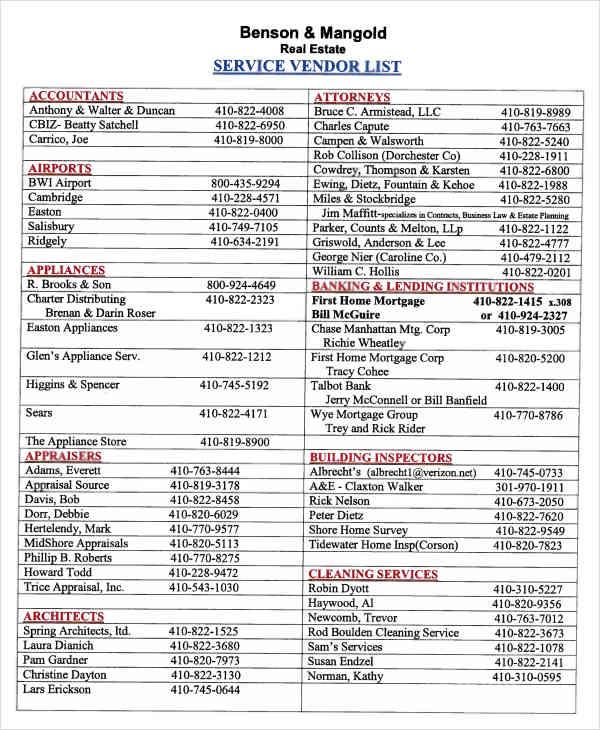 vendor list for real estate1