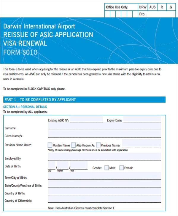 visa application renewal form
