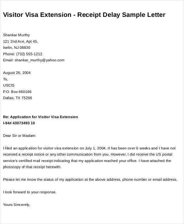 visa extension request letter