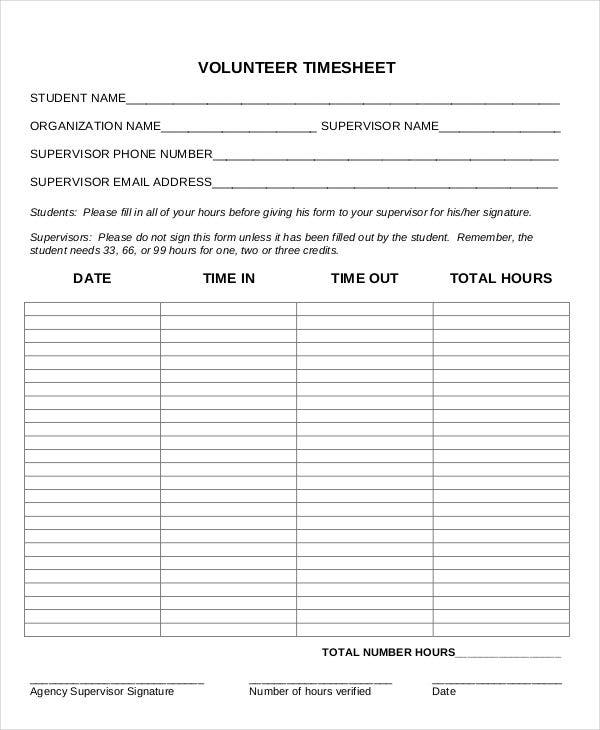 volunteer daily timesheet