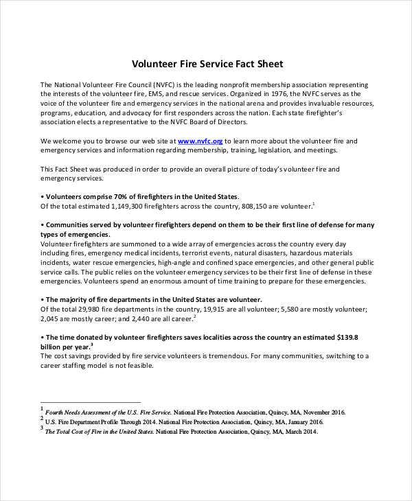 volunteer fire service fact sheet