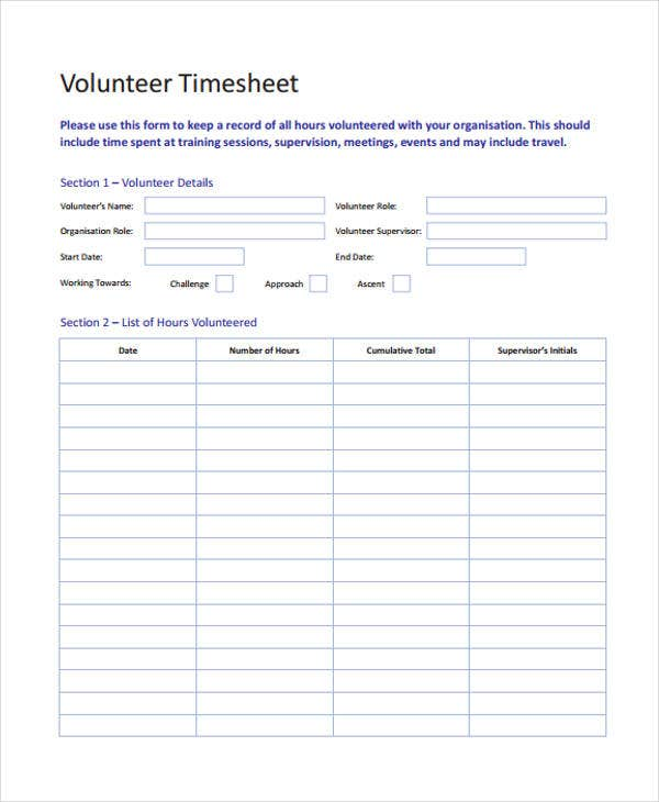 Volunteer Timesheet Example
