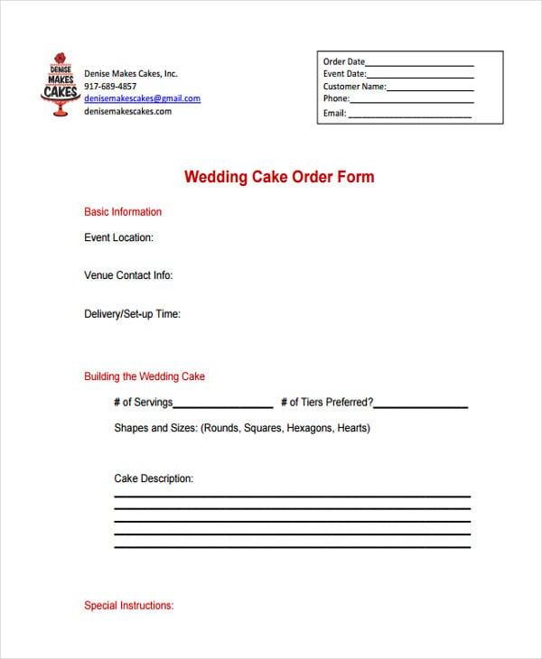 wedding cake order