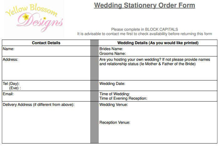 wedding stationery order sample
