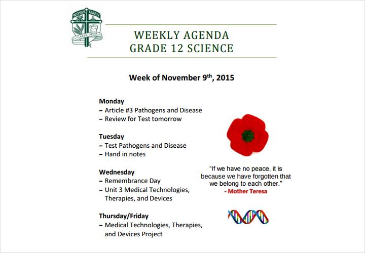 weekly agenda example