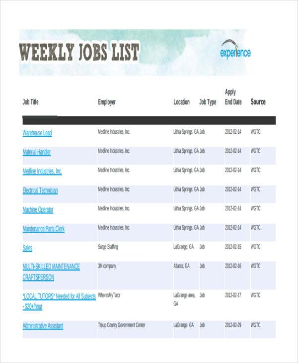 job list templates