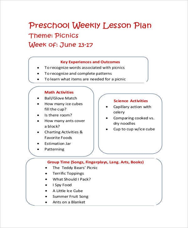 9 Printable Preschool Lesson Plan Templates Free Sample Example