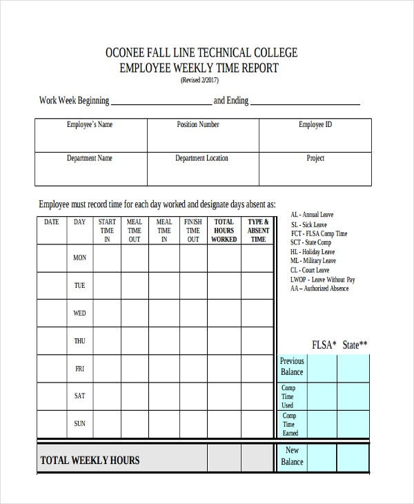 Sample Weekly Report Templates  Free  Premium Templates