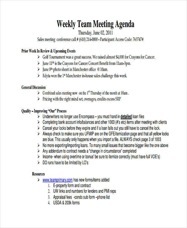 weekly sales meeting agenda