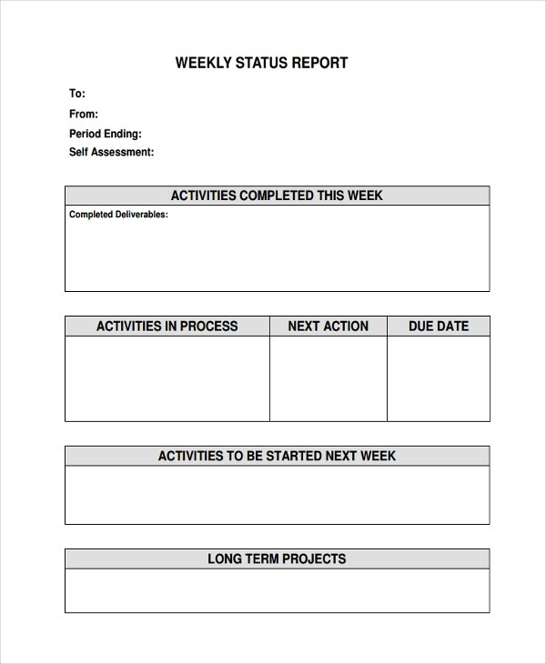 weekly status report sample - Weekly Report Template