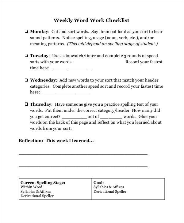 weekly work checklist