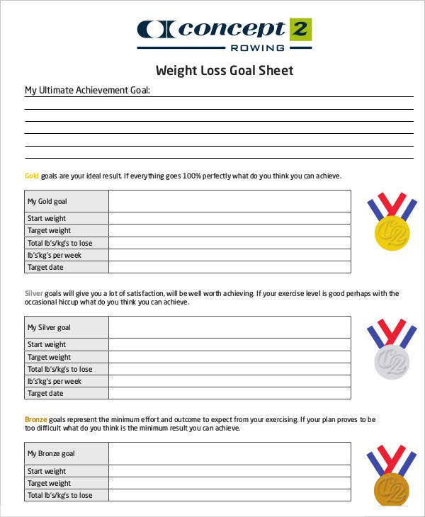 Weight Loss Goal Sheet