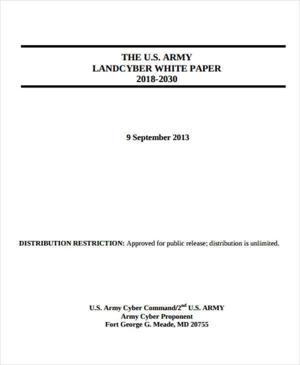 white paper for army landcyber