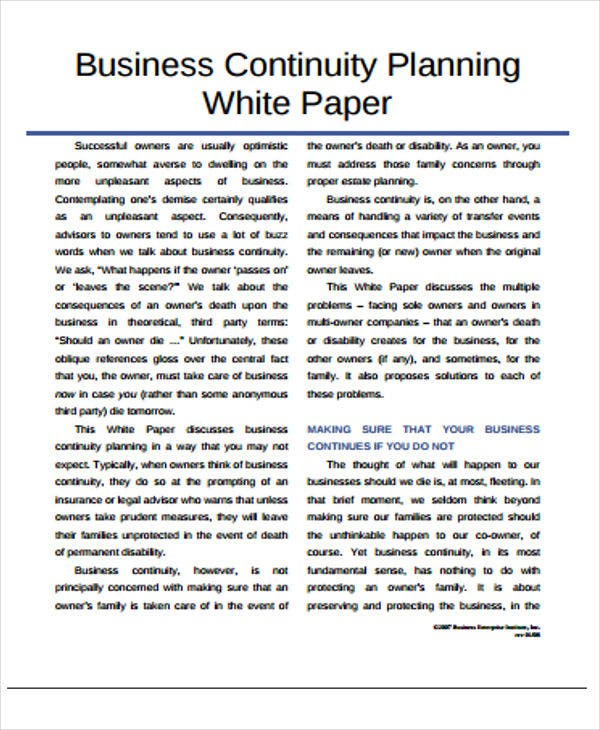 white paper for business continuity