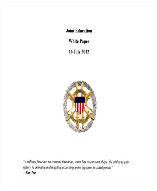 white paper for joint education