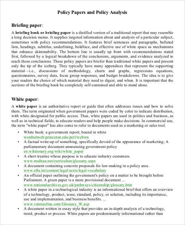 white paper for policy analysis