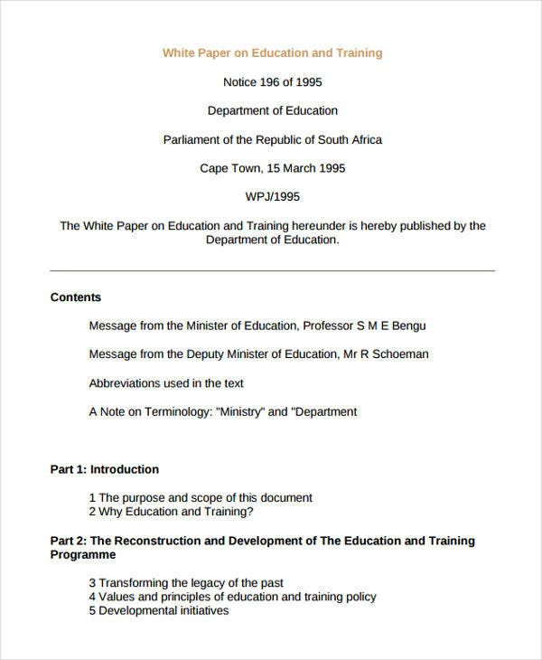 white paper education A white paper is an authoritative report or guide that informs readers concisely about a complex issue and presents the issuing body's philosophy on the matter it is.