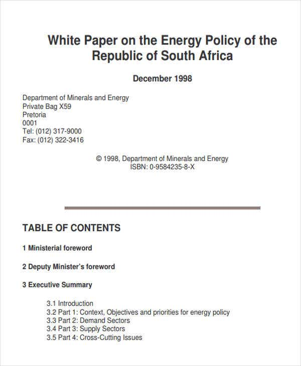 white paper on energy policy