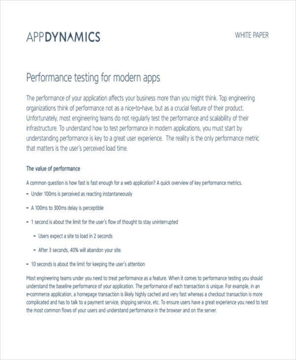 white paper on performance testing
