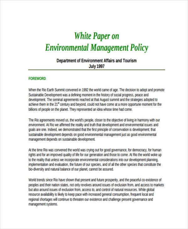 white paper on policy management