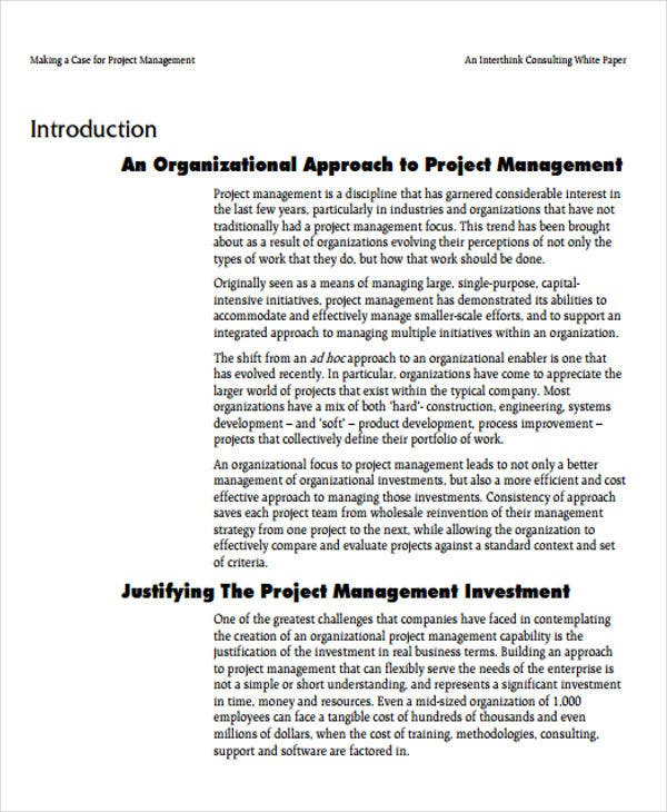 white paper on project management