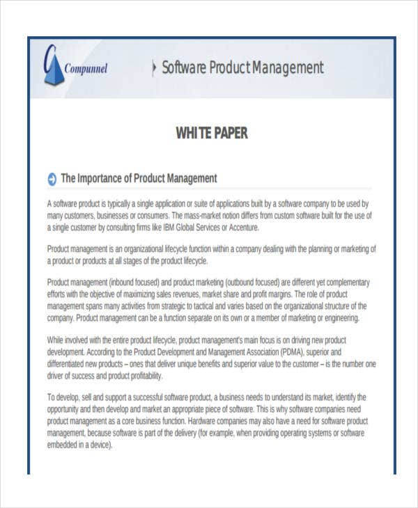 white paper on software product