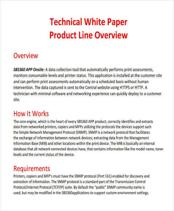 white paper on technical product