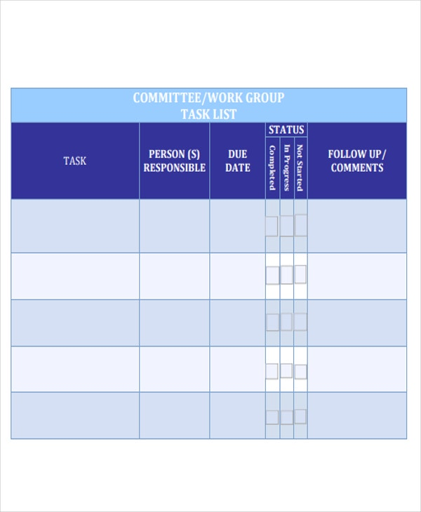 work group task list