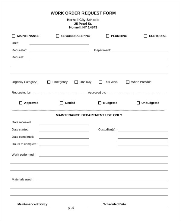 Work Order Forms  Free Samples Examples Format Download  Free