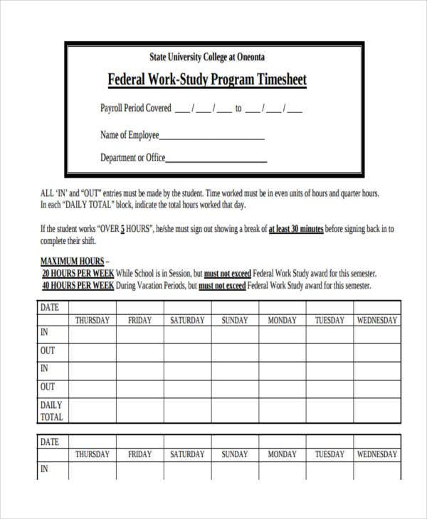 work study program timesheet