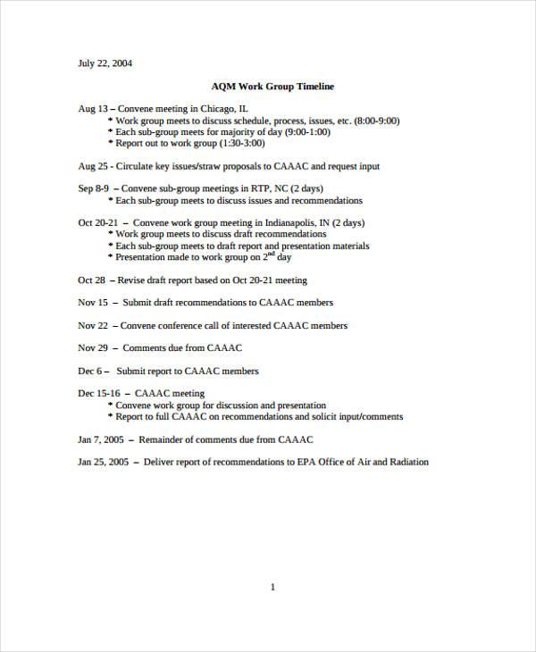 work timeline in pdf
