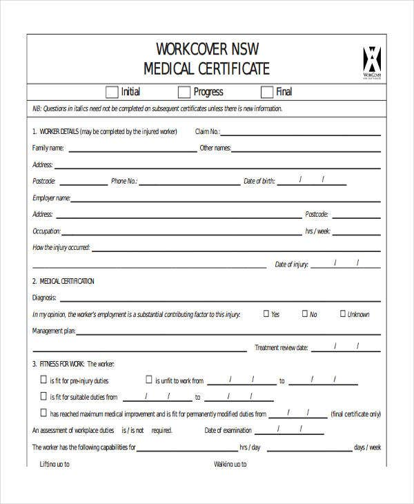 workcover medical certificate