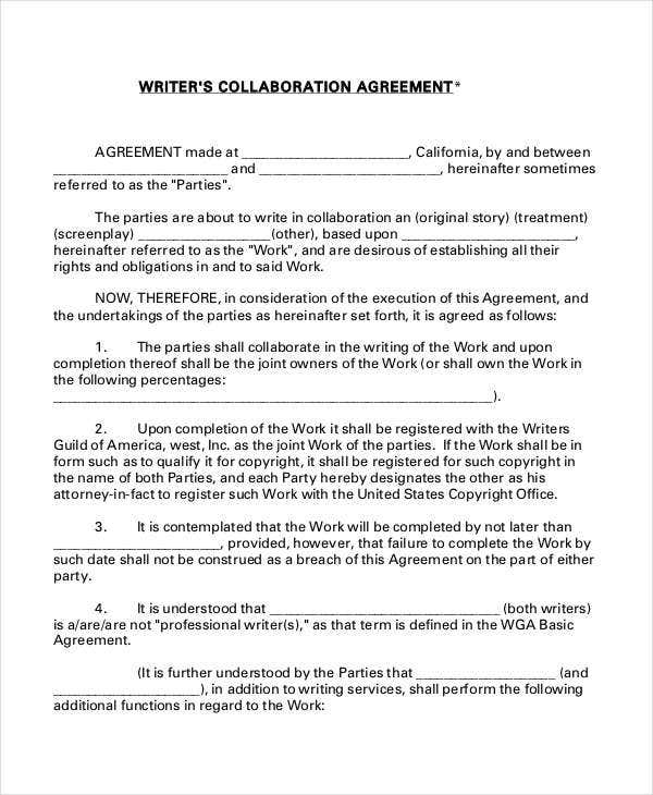 collaboration contract template - 11 collaboration agreement templates word pdf free